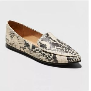 Micah Faux Leather Snake Print Pointy Toe Loafers